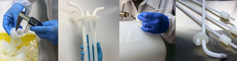 plastic fabrication, dip tubes, carboys tri-clamp, bending